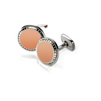 M-Clip_Rose_Gold_Inlay_Carved_Round_Cufflinks
