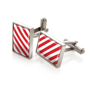 M-Clip Team Stripes Red & White Inlay Cufflinks