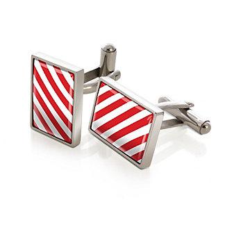 M-Clip Team Stripes Red & White Inlay Cufflinks