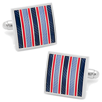 Red & Navy Striped Square Cufflinks