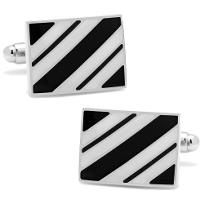 Black_&_White_Rectangle_Repp_Stripe_Cufflinks