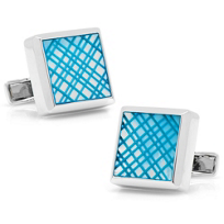 Sterling_Blue_Etched_Plaid_Mother_of_Pearl_Cufflinks