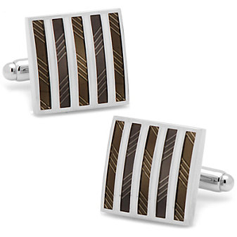 Black & White Striped Square Cufflinks