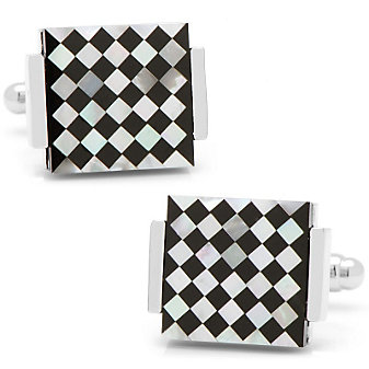 Floating Onyx & Mother of Pearl Checkered Cufflinks