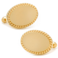 14K_Gold_Plated_Rope_Border_Oval_Engravable_Cufflinks