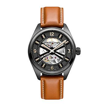 Hamilton Khaki Field Skeleton Brown Strap Auto Watch