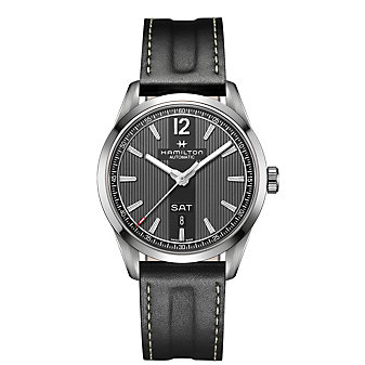Hamilton Broadway Day Date Auto Watch with Grey Face & Black Leather Strap