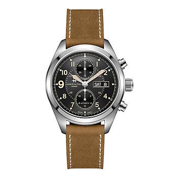 Hamilton Khaki Field Auto Chrono Watch with Brown Leather Strap