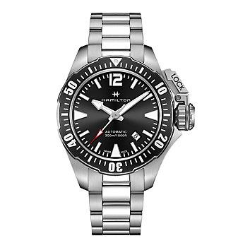 Hamilton Khaki Navy Frogman Auto Watch In Black