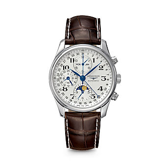 Longines Master Collection Leather Chronograph Watch, 3 Subdials