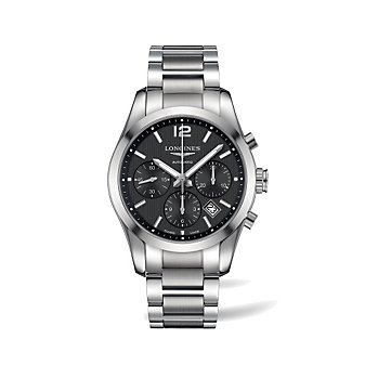 Longines Conquest Classic Stainless Steel Black Dial Chronograph Watch