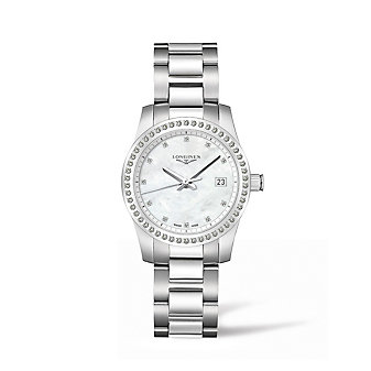 Longines Conquest 34MM Stainless Steel & Diamond Watch