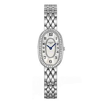 longines symphonette diamond and white mother of pearl stainless steel ladies watch