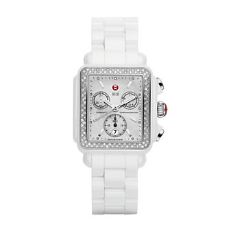 MW Deco White Ceramic Diamond Watch