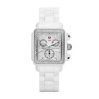 MW Deco White Ceramic Diamond Watch