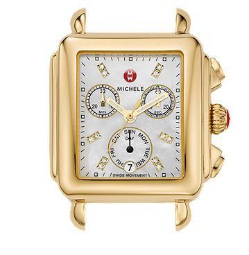 Michele Signature Deco Gold, Diamond Dial