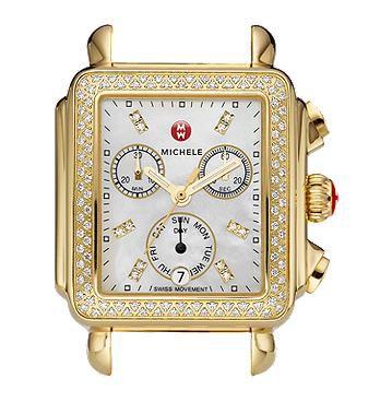 Michele Signature Deco Diamond Gold, Diamond Dial