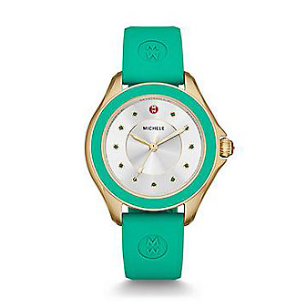 Michele Cape Topaz Gold Tone Green Watch