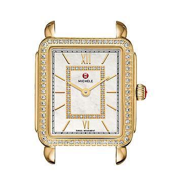 Michele Deco II Mid-size Diamond Gold, Diamond Dial Watch