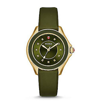 Michele Cape Topaz Green and Gold Tone Watch
