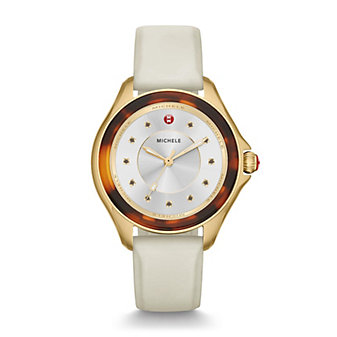 michele cape ivory gold, tort topaz dial watch