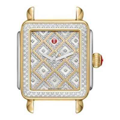 michele deco two-tone diamond watch dial
