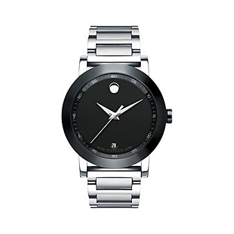 Movado Museum Men's Sport Stainless Steel Bracelet Watch, Black Dial