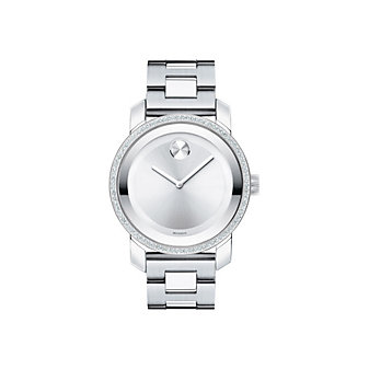 Movado Stainless Steel and Diamond Bold Bracelet Watch, Mid-size