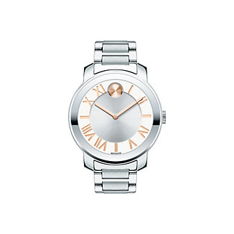 Movado Bold Mid-Size Bracelet Watch With Rose Tone Accents