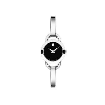 Movado Rondiro Women's Stainless Steel Watch, Black Dial
