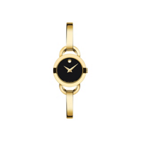 Movado_Women's_Rondiro_Gold_Tone_Watch,_Black_Dial
