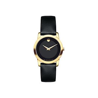 Movado Museum Classic Women's Black Calfskin Strap Watch