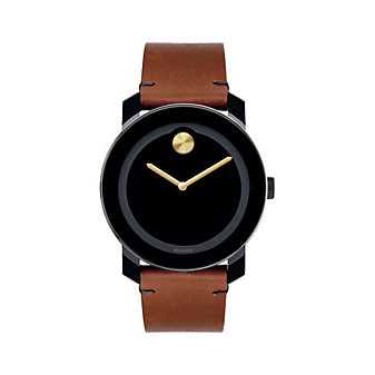 Movado TR90 Bold Black Dial & Brown Leather Strap Men's Watch