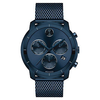 Movado Bold Large Ink Blue Chronograph Men's Watch