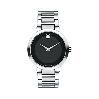 movado modern classic 39.2mm stainless steel men's watch with black musuem dial