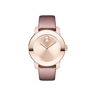 movado midsize bold quartz 36mm light carnation pink stainless steel women's watch