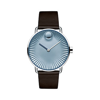 movado edge quartz 40mm stainless steel men's watch with blue dial and brown leather strap