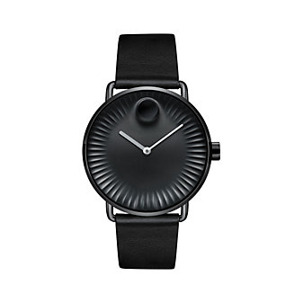 movado edge 40mm watch with black dial and black leather strap