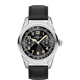 montblanc summit smartwatch - titanium case with black leather strap
