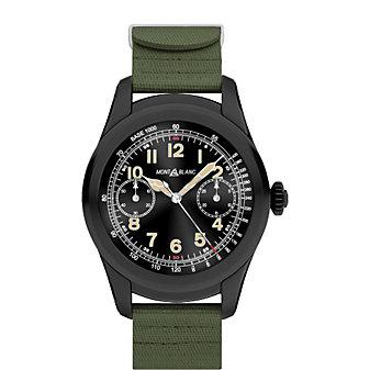 montblanc summit smartwatch - black steel case with khaki green rubber strap