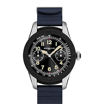 montblanc summit smartwatch - bi-color steel case with navy blue rubber strap
