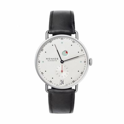 nomos glashutte metro datum gangreserve watch
