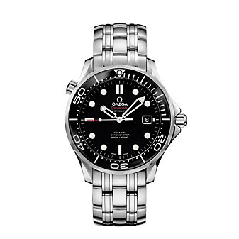 omega steel & black dial seamaster diver 300m co-axial watch, 41mm