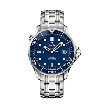 omega steel & blue dial seamaster diver 300m co-axial watch, 41mm
