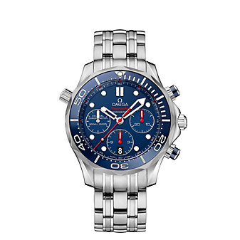 omega steel & blue dial seamaster diver 300m co-axial chronograph watch, 41.5mm