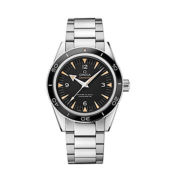 omega steel on steel seamaster 300 omega master co-axial watch, 41mm