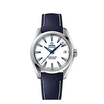 omega titanium on nylon seamaster aqua terra 150m master co-axial watch, 38.5mm