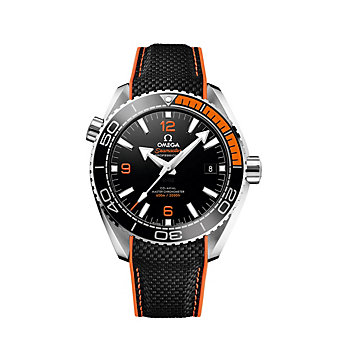 omega steel & rubber strap seamaster planet ocean 600m co-axial master chronometer watch, 43.5mm