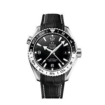 omega steel black & white seamaster planet ocean 600m co-axial master chronometer gmt watch, 43.5mm