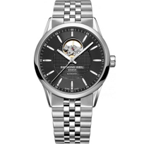 Raymond_Weil_Freelancer_Men's_Bracelet_Watch,_Black_Dial_&_Open_Balance_Wheel